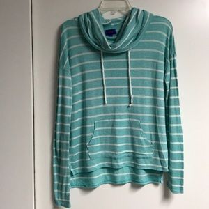 Long sleeve blue and white striped shirt